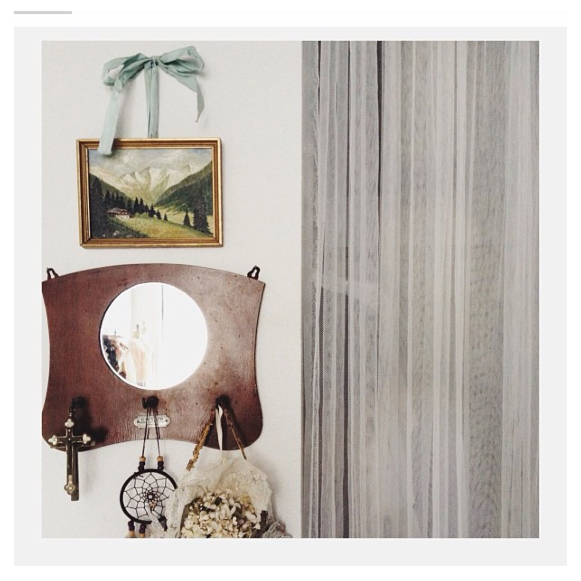 Wall Decorations With Ribbon : Picture hanging with ribbon wall decor home