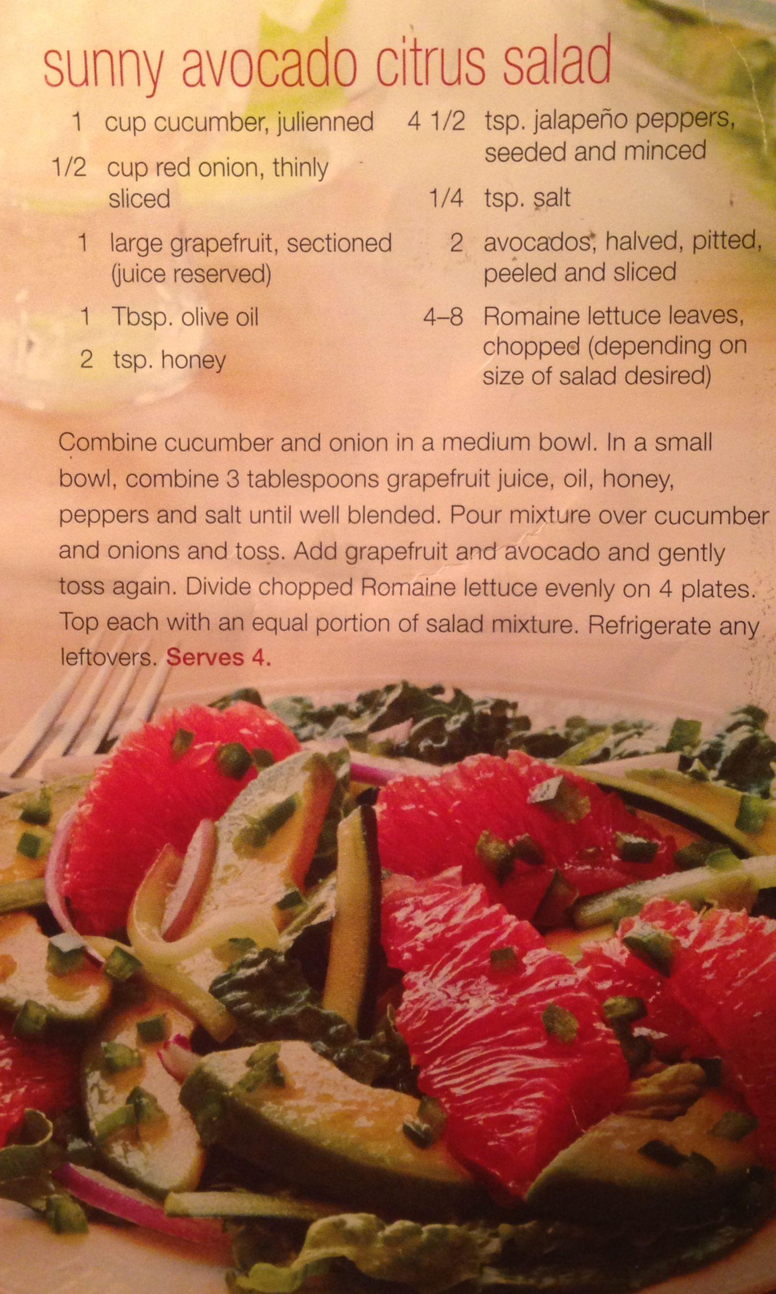 Sunny Avocado Citrus Salad | Pro tie and produce | Pinterest