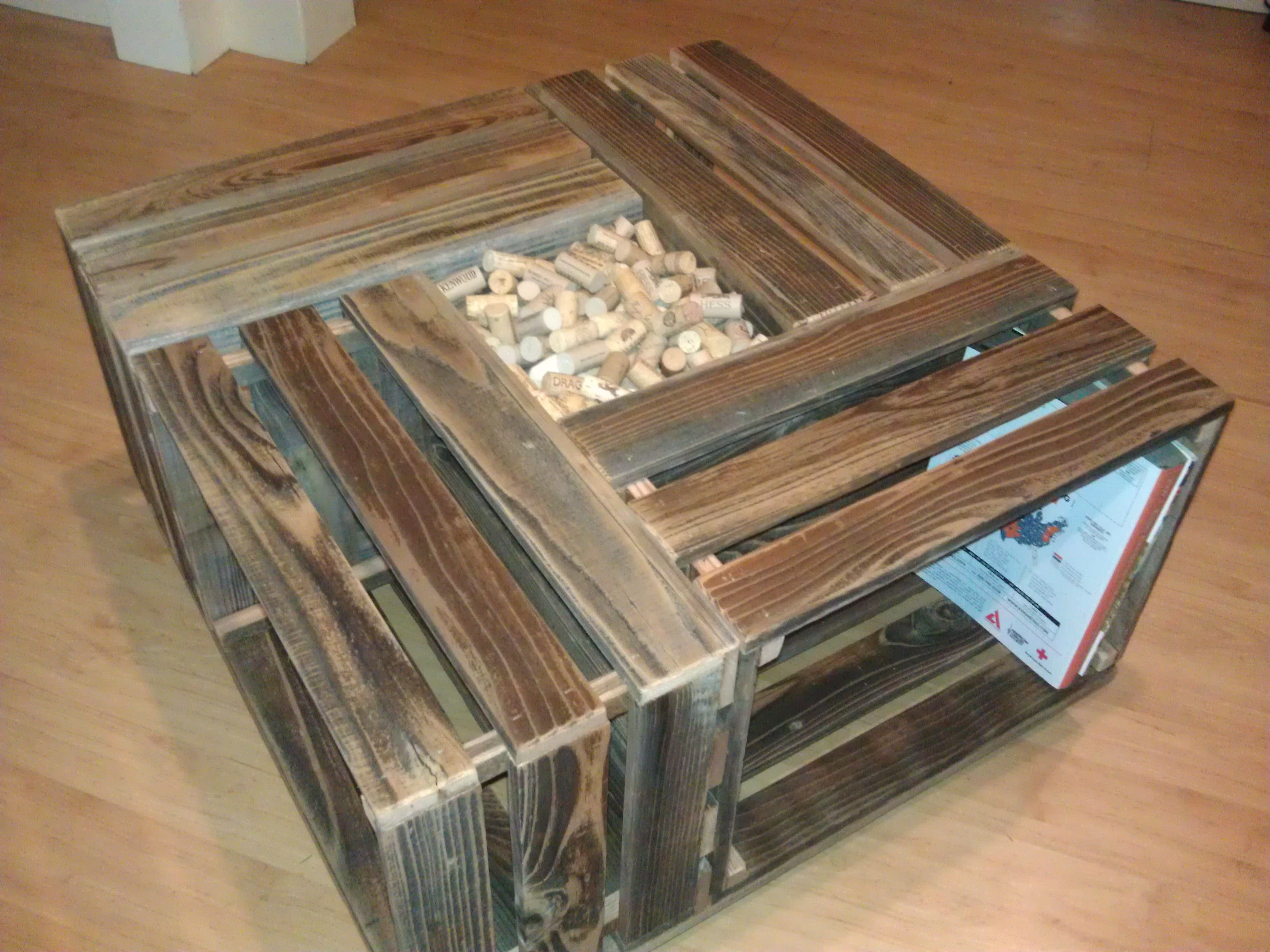 Rolling Square Wood Crate Coffee Table Wood Crate Coffee Tables P