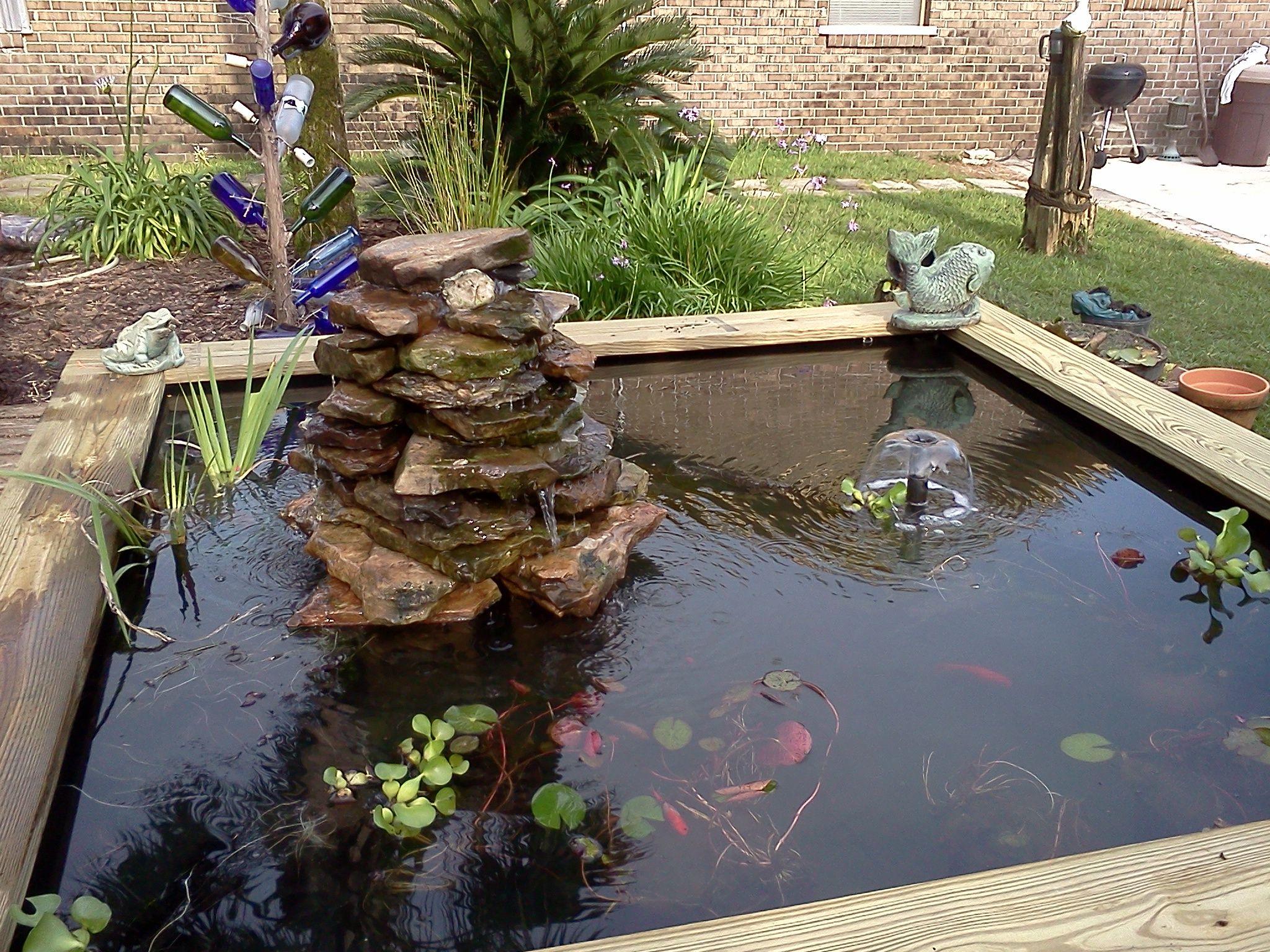 Raised pond fountain garden pinterest for Garden pond raised