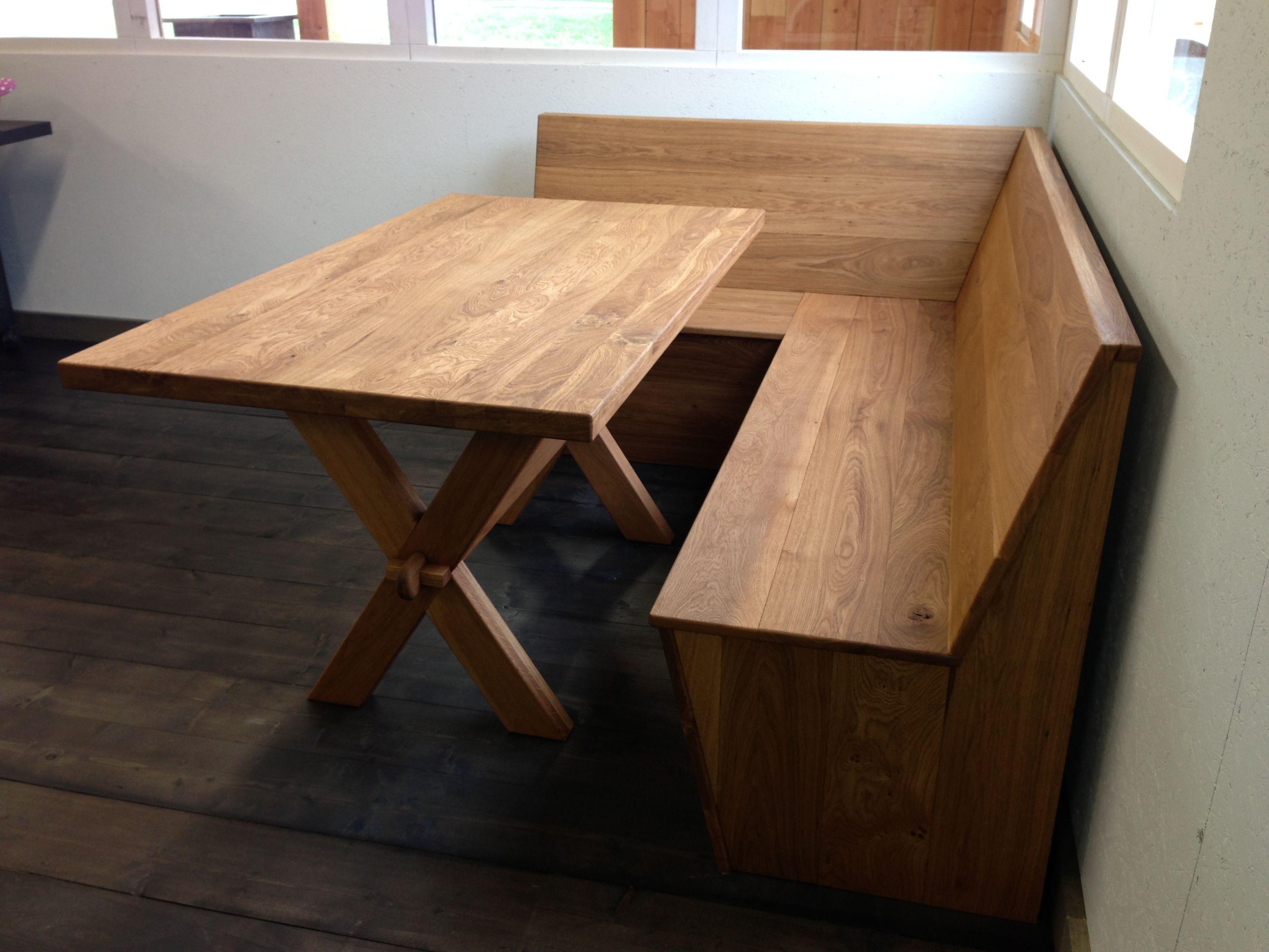 Keuken Eethoek Bank : Eiken hoekbank en Eiken tafel Houten meubelen voor het Binnenleven