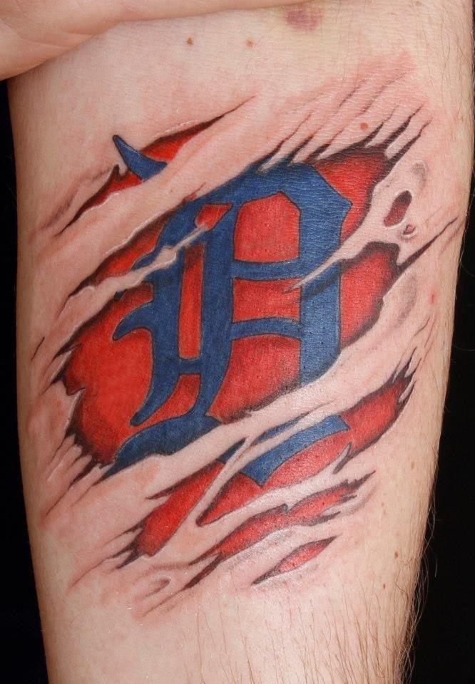 Detroit tigers d tattoo by tom salwoski of chroma tattoo for Detroit d tattoo