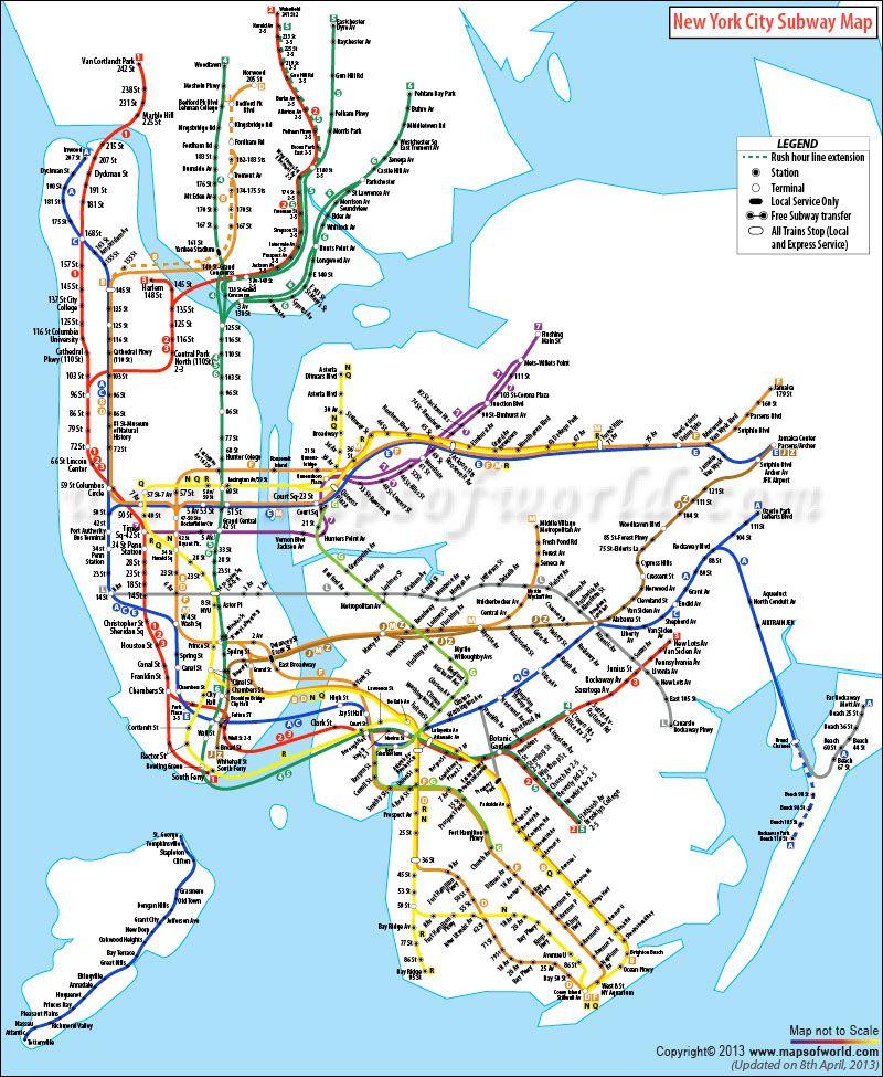 New York City Subway Map | NYC | Pinterest | Subway map, City and ...