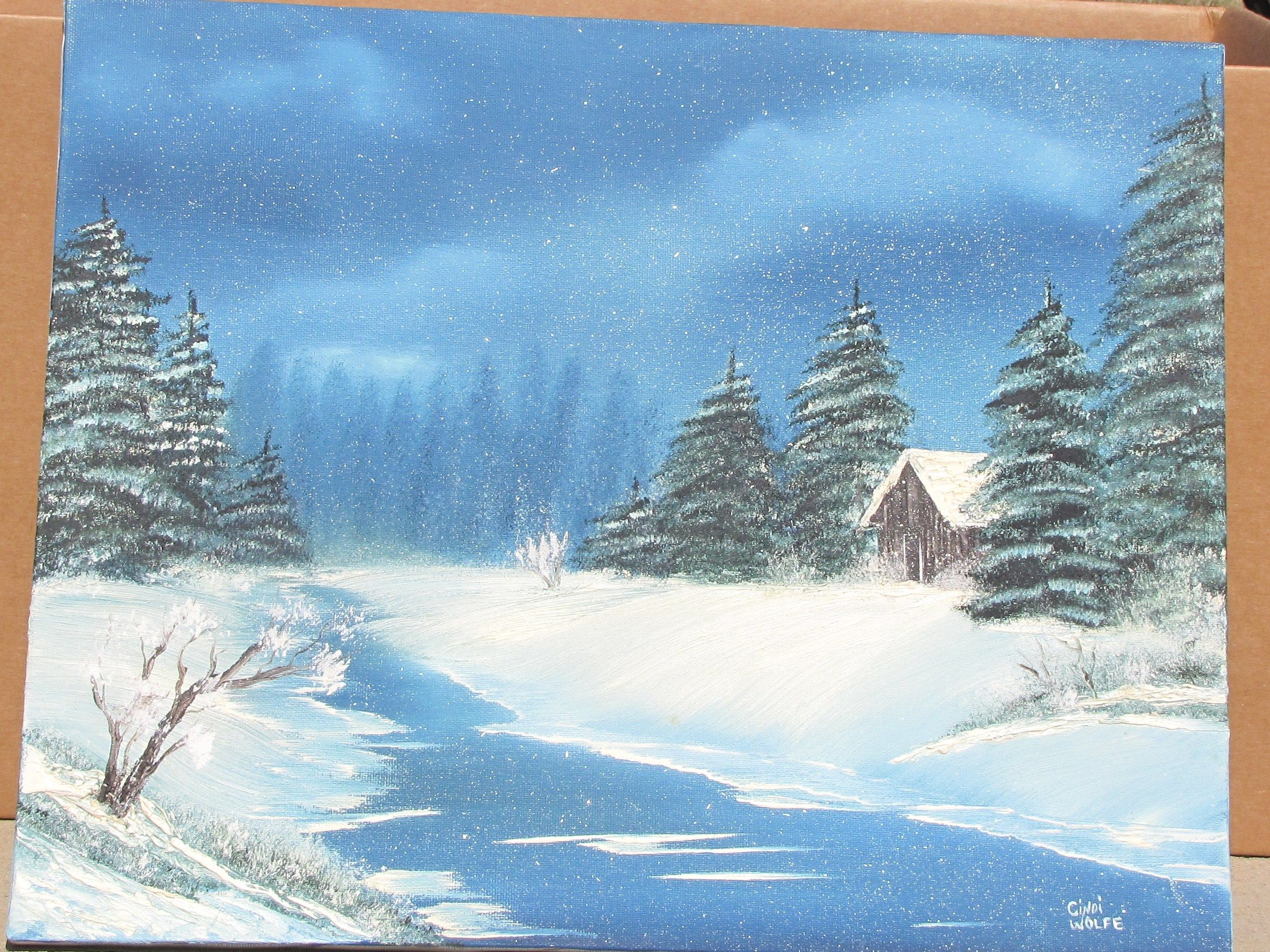 Bob ross inspired oil oil acrylic paintings for Oil or acrylic