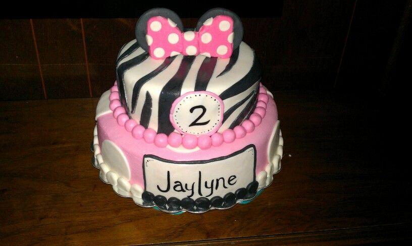 Minnie Mouse / Zebra birthday cake  I done did it!  Pinterest