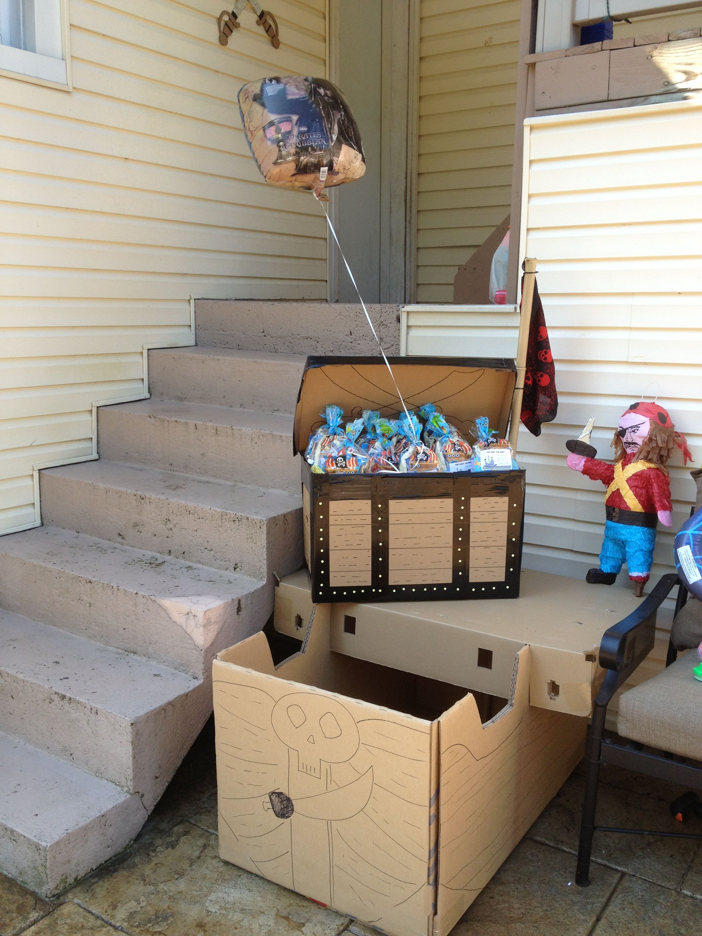 Cardboard treasure chest for favors zelda party