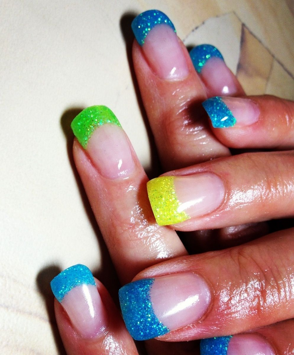 Green, blue, and yellow gel nails | My Style | Pinterest