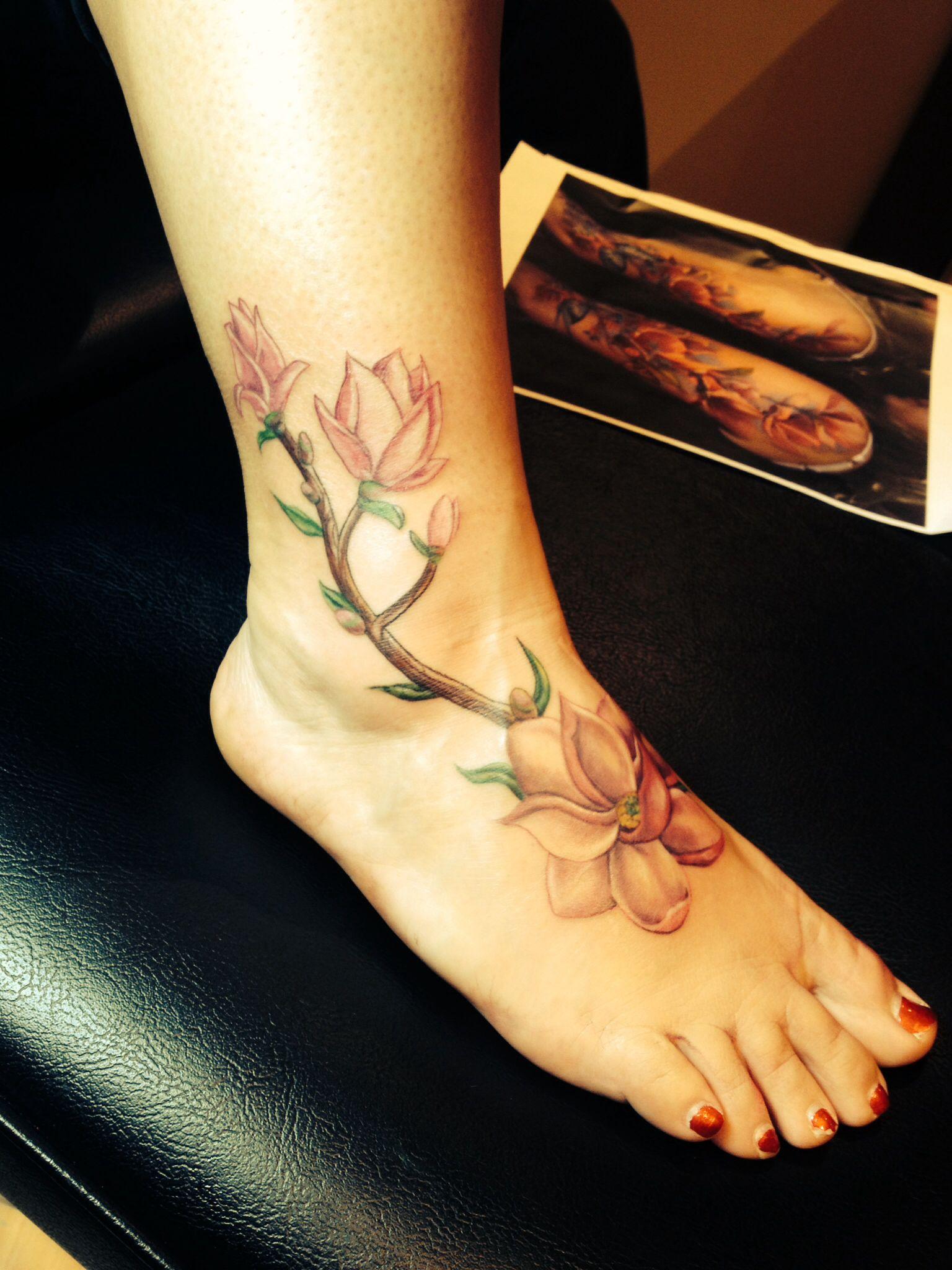 magnolia foot tattoo -#main