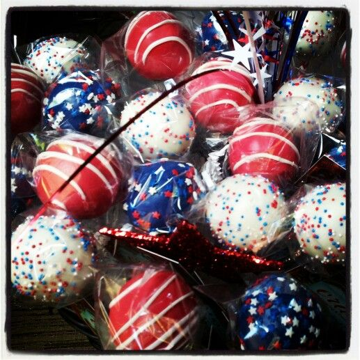 Patriotic Red White & Blue Cake Pops | Sweets and treats | Pinterest