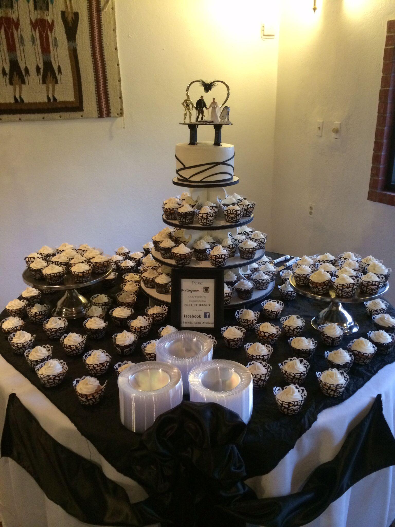 Wedding cake and cupcake table weddingg