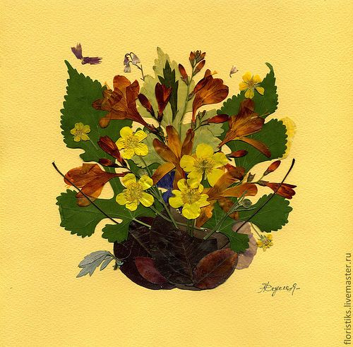 Картина из сухих листьев фото