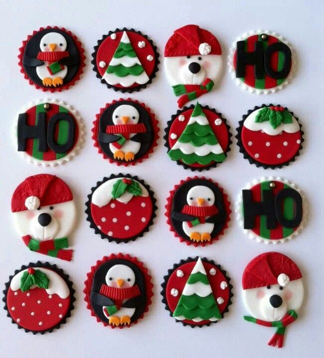 1000+ images about Christmas Fondant Cupcake Toppers on ...