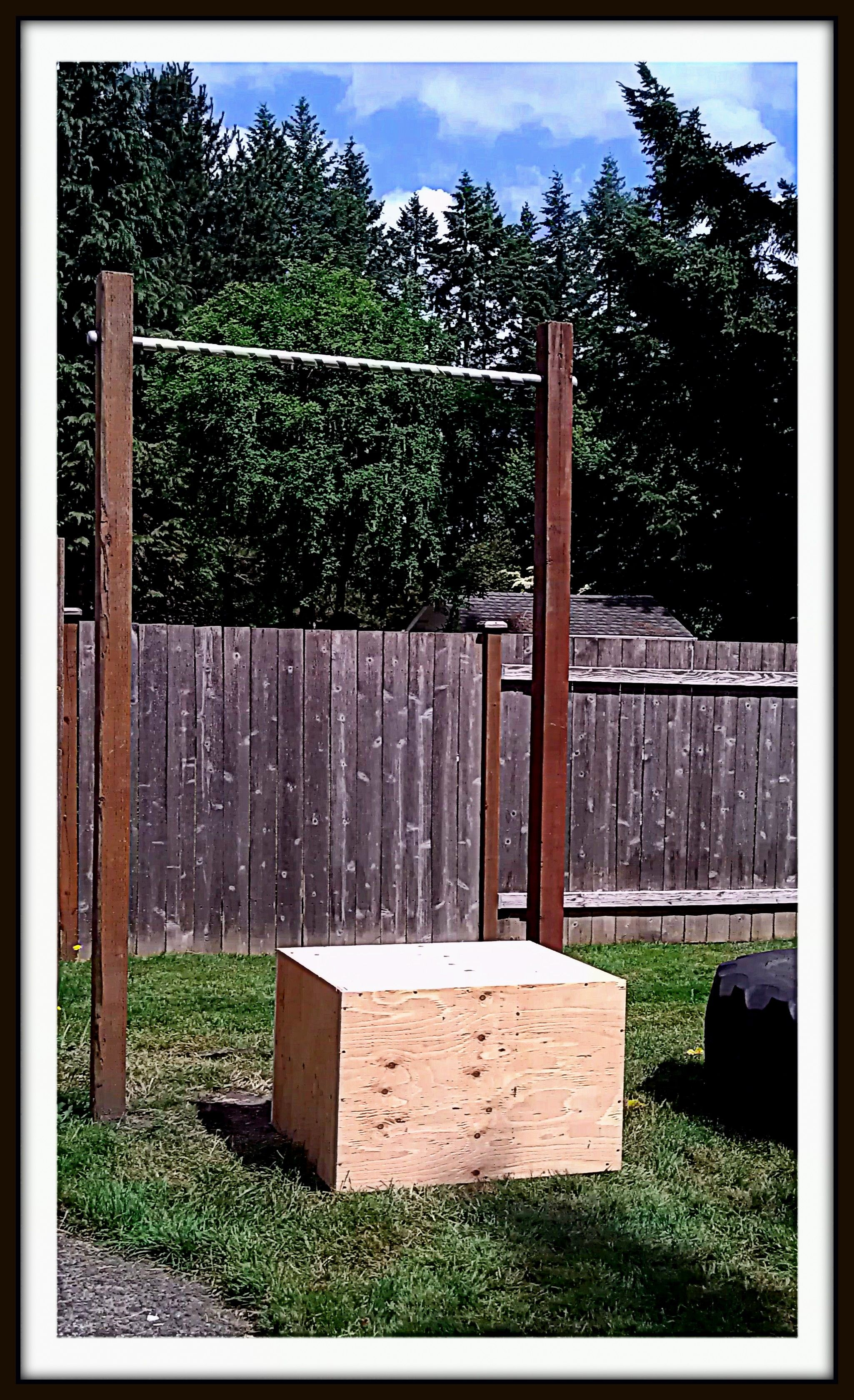 Pull Up Bar and Box in my backyard  fitness  Pinterest
