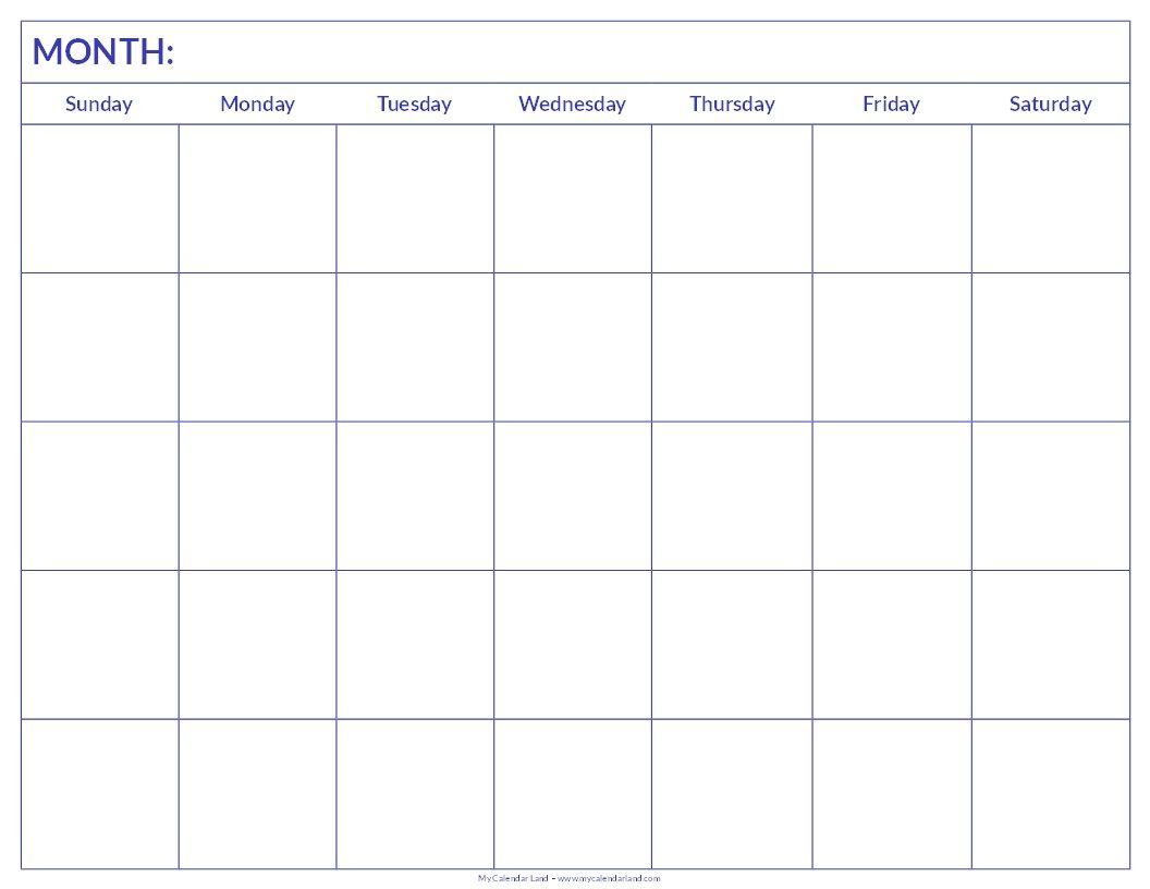 Blank Calendar Printout – Printable Editable Blank