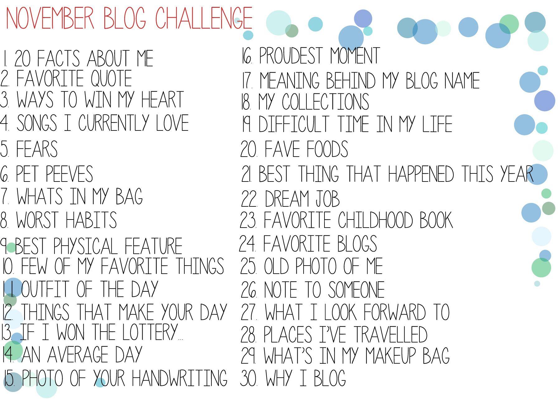Kristazzi: November Blog Challenge