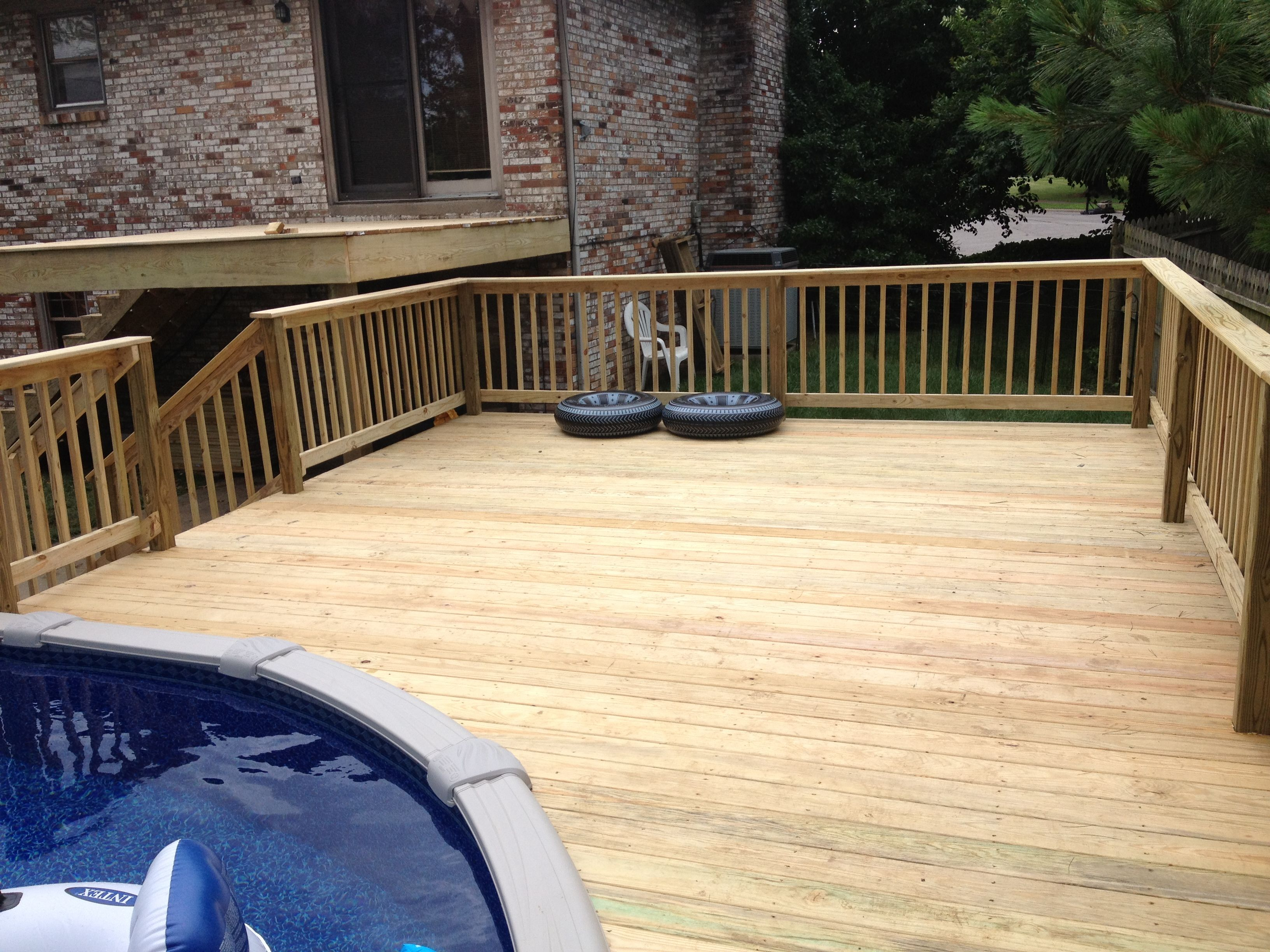 Wood pool deck wood decks pinterest for Pool wood deck ideas