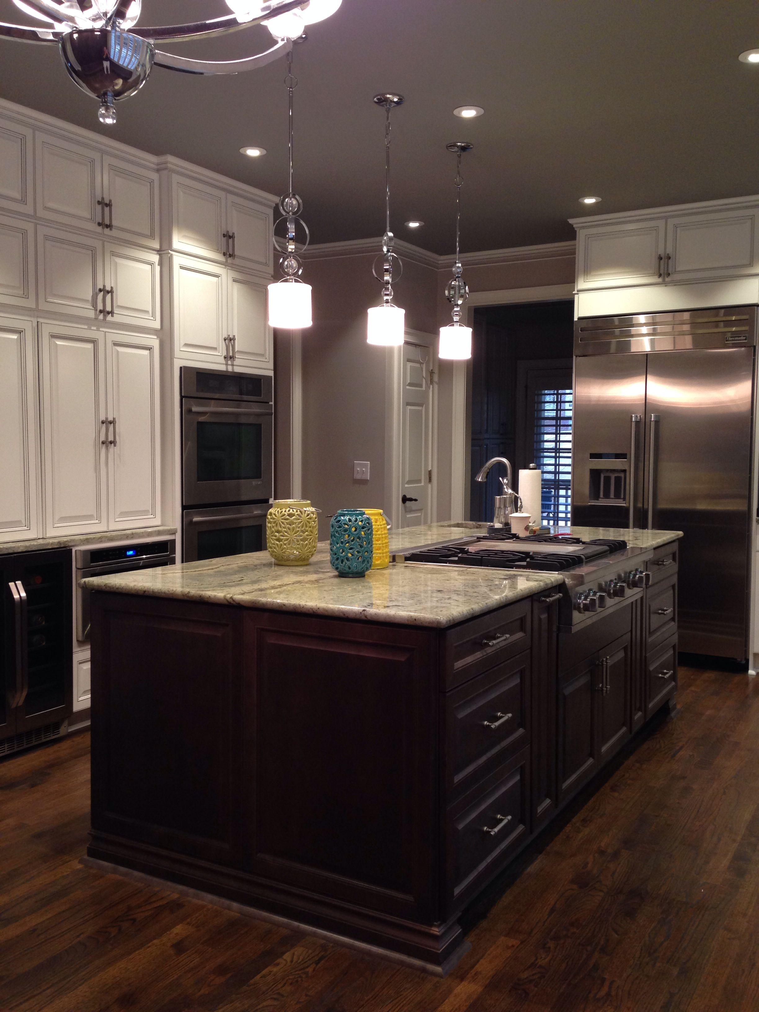 White kitchen charcoal island  Home Pinterest