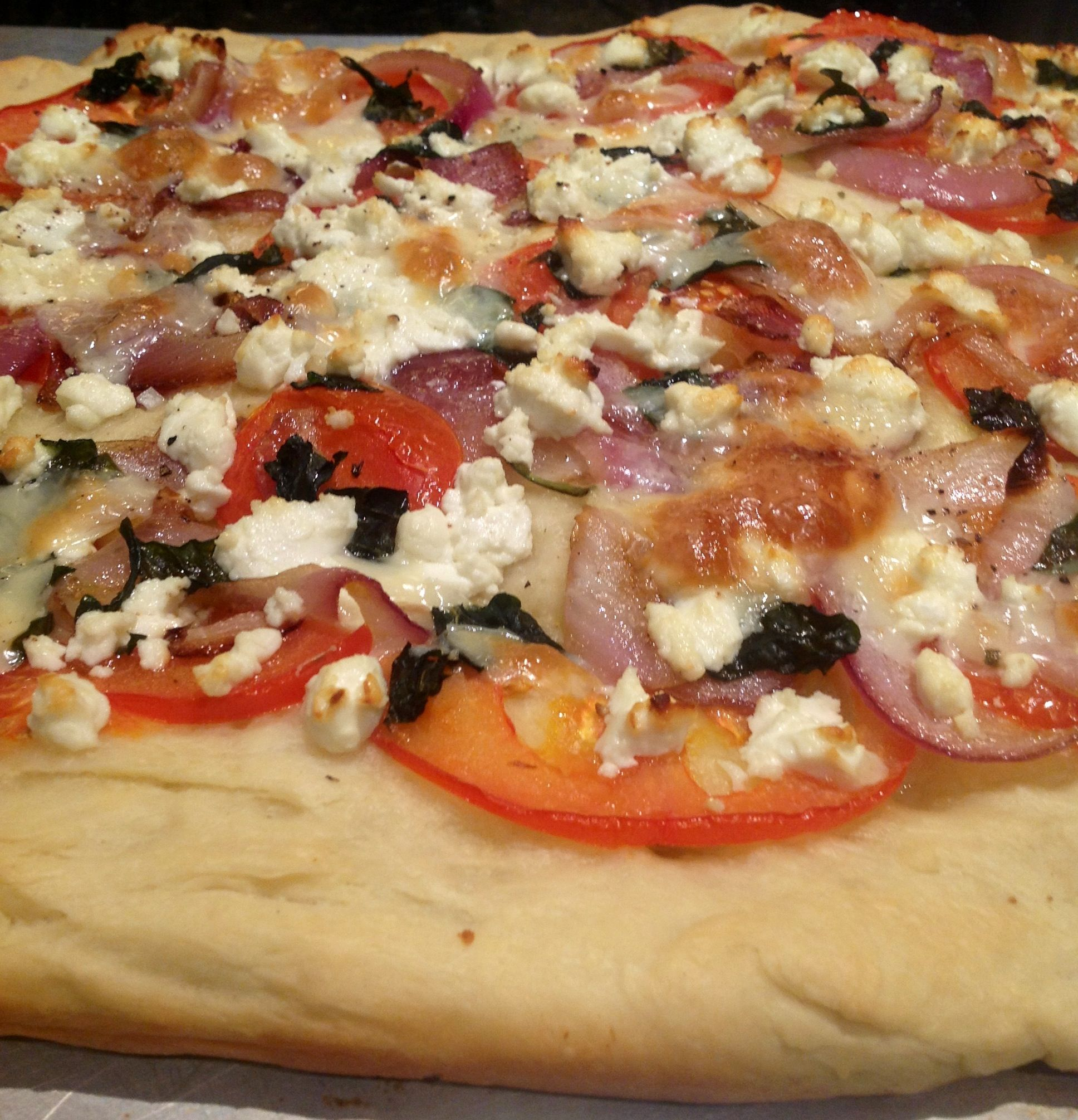goat cheese and basil focaccia pizza | delish | Pinterest