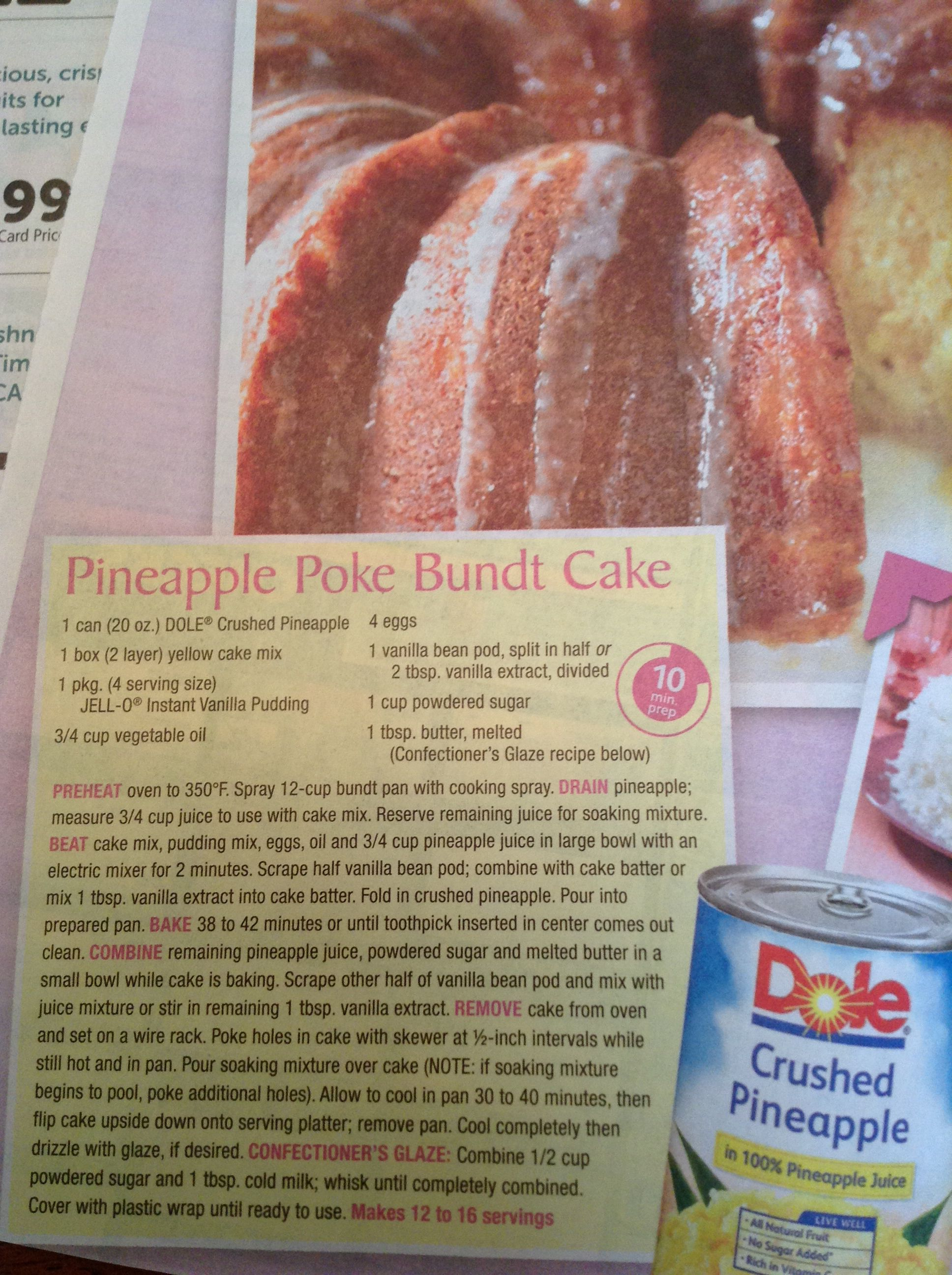 Dole Pineapple Poke Bundt Cake Recipe