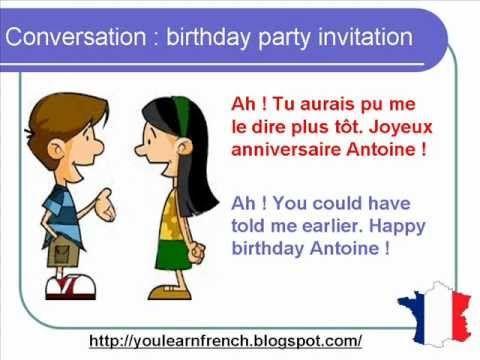 Invitation conversation english invitationswedd french lesson 77 inviting a friend to birthday party dialogue stopboris Gallery