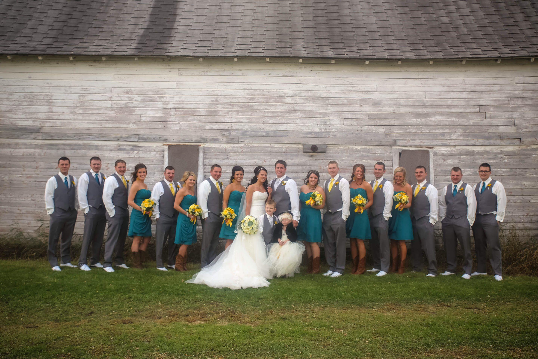 Teal yellow gray tux wedding Dream Wedding