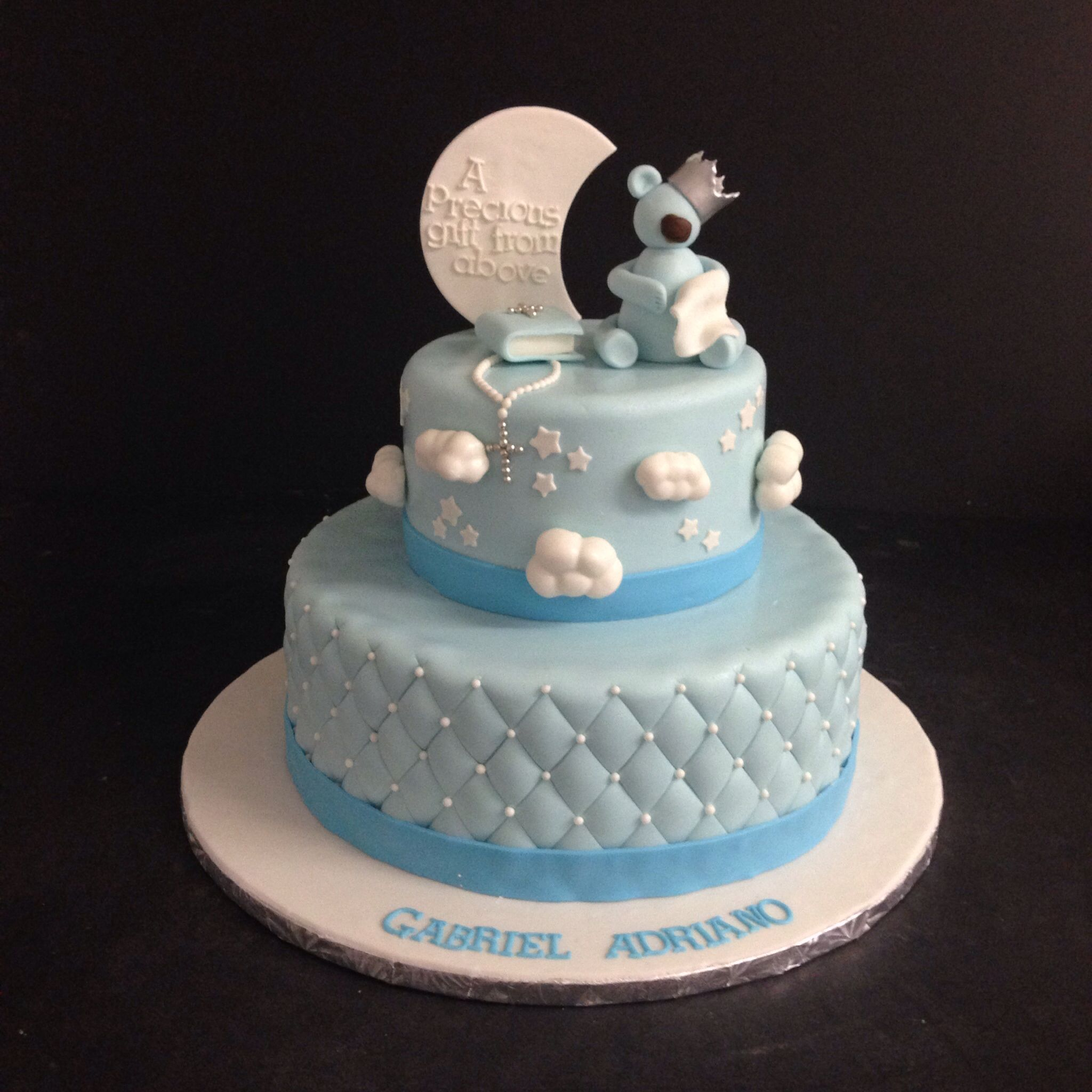 Baby blue cake baptism for a baby boy cake pinterest - Baby baptism cake ideas ...