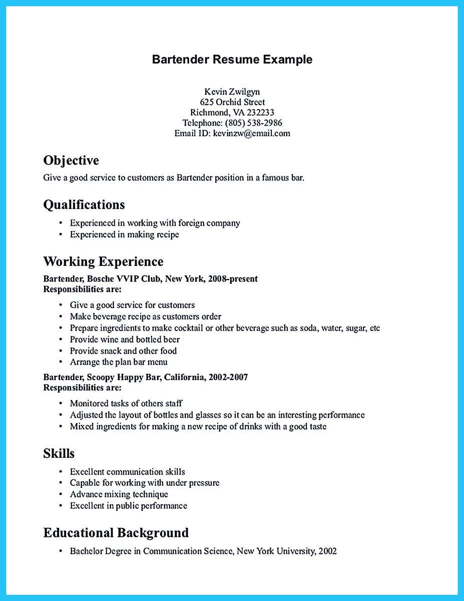 Bar Job Cv Examples Uk Krys Tk