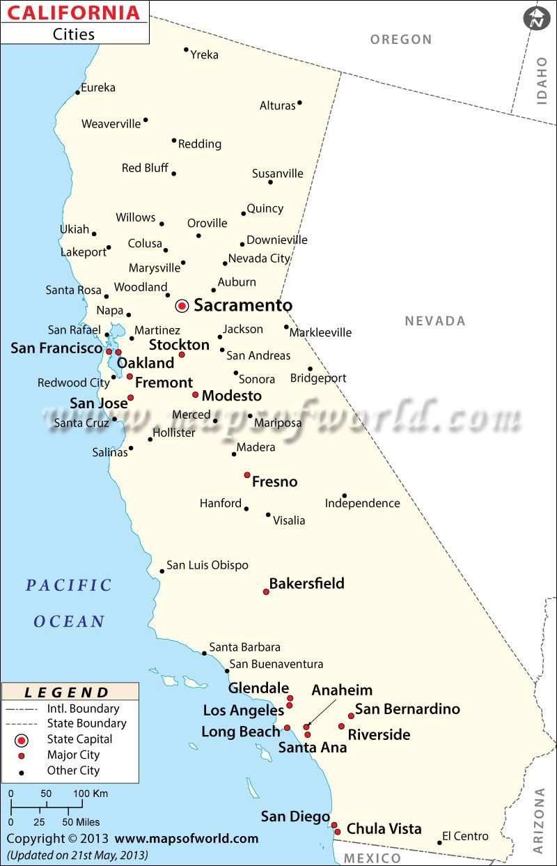 Map Of Major Cities Of California Maps In 2019