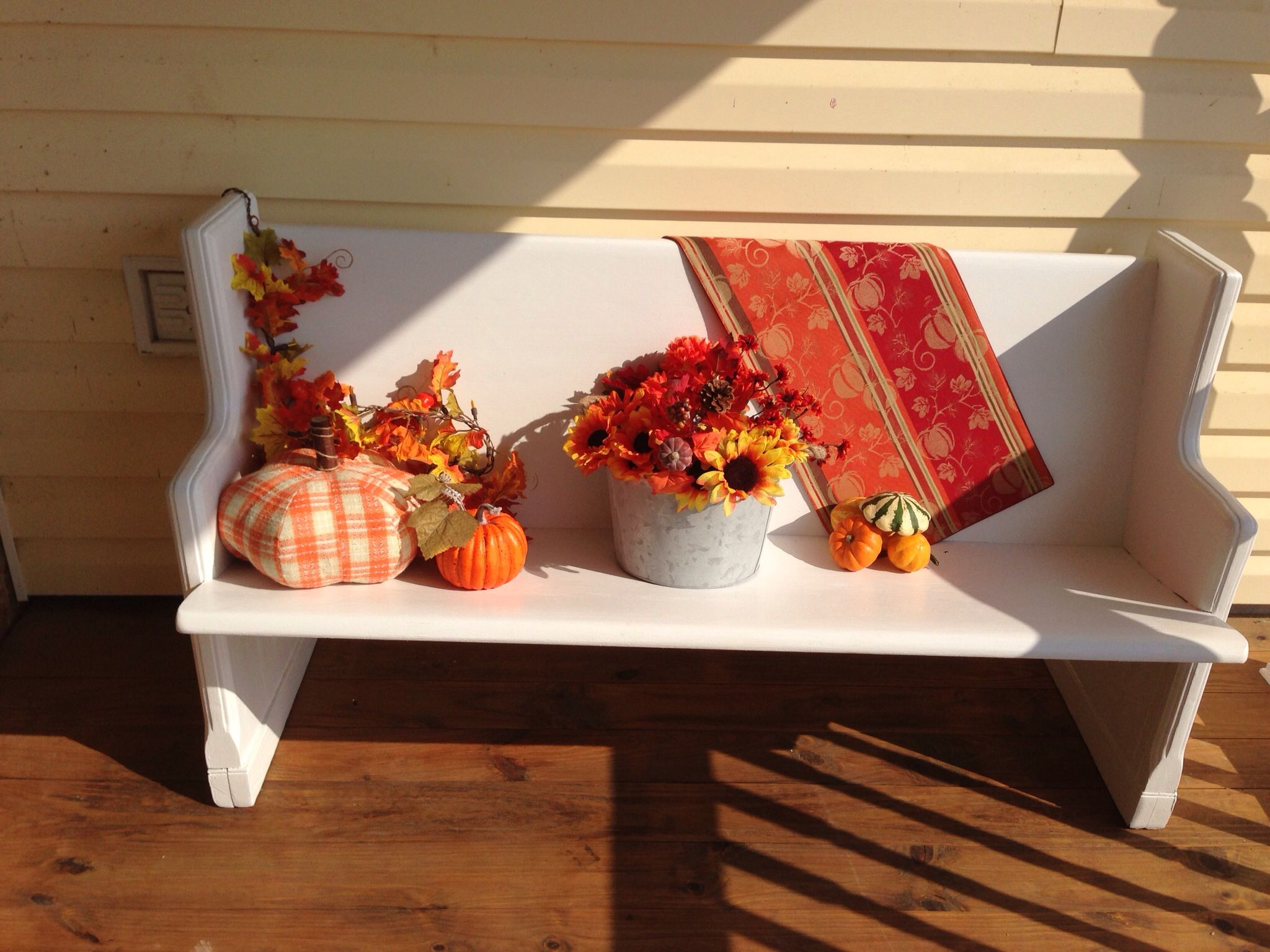 Fall decorated church pew church pew decorating pinterest