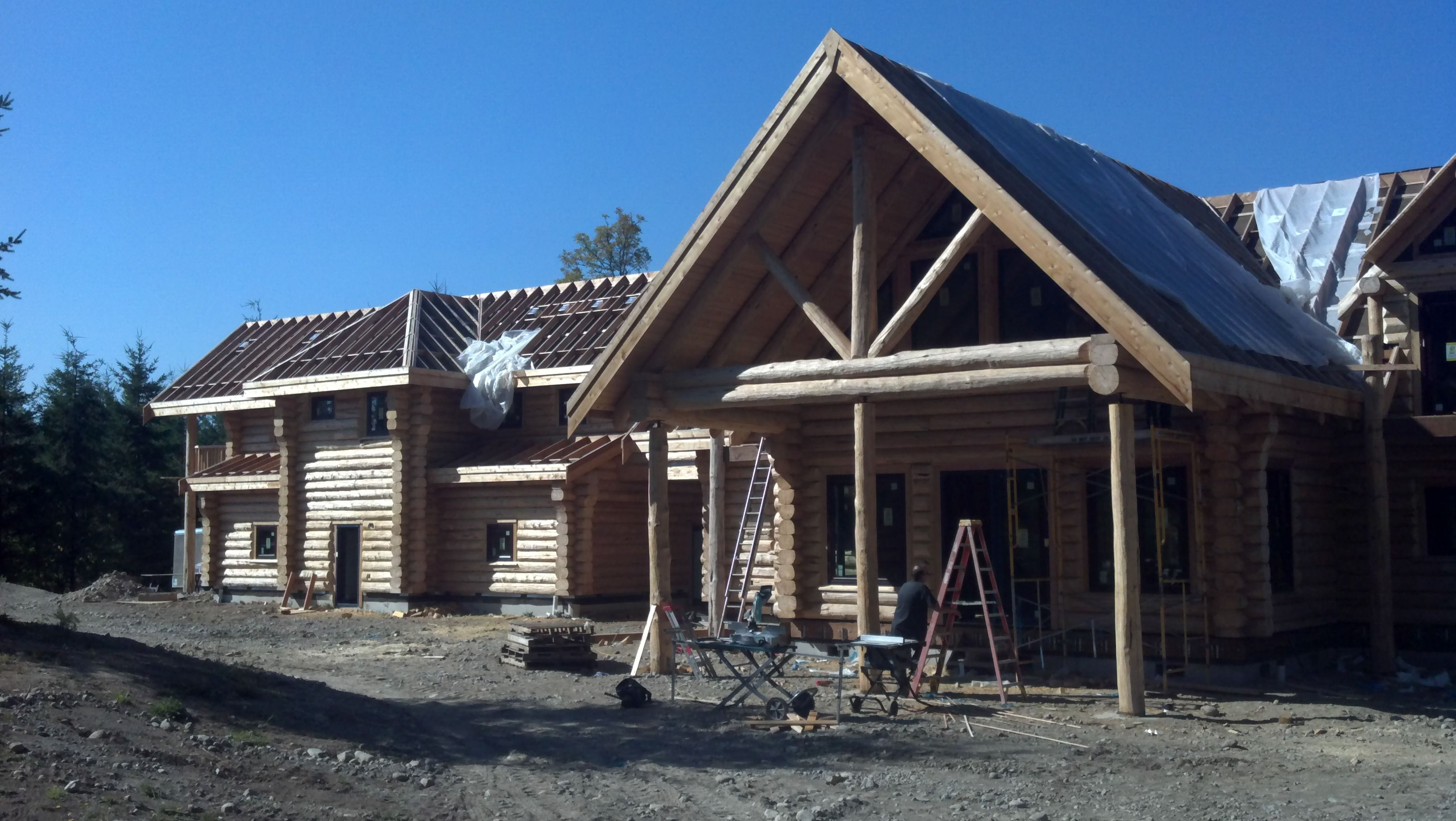 Big Log Home In Construction Log Home Restoration And