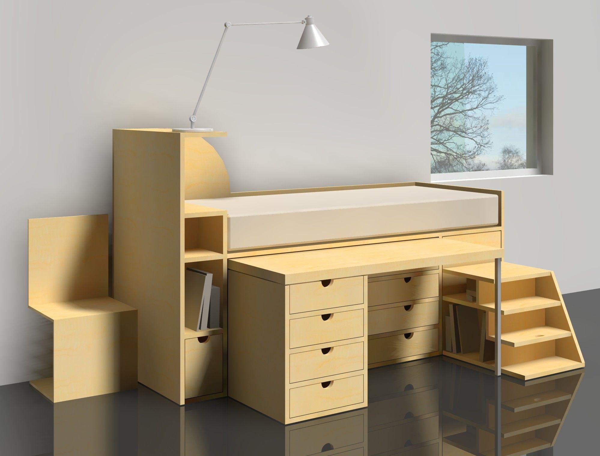 design for a desk bed combination if i was a kid. Black Bedroom Furniture Sets. Home Design Ideas