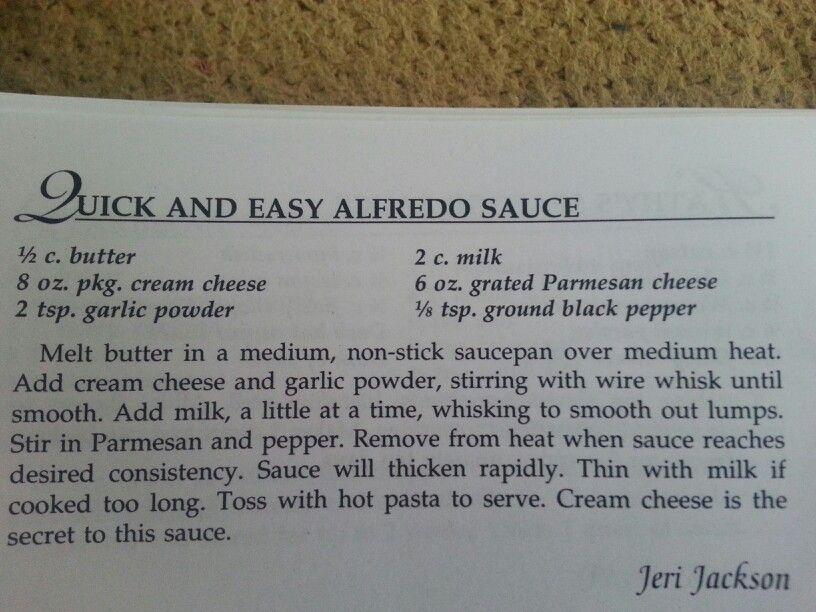 Quick and Easy Alfredo Sauce | Yummy Recipes | Pinterest