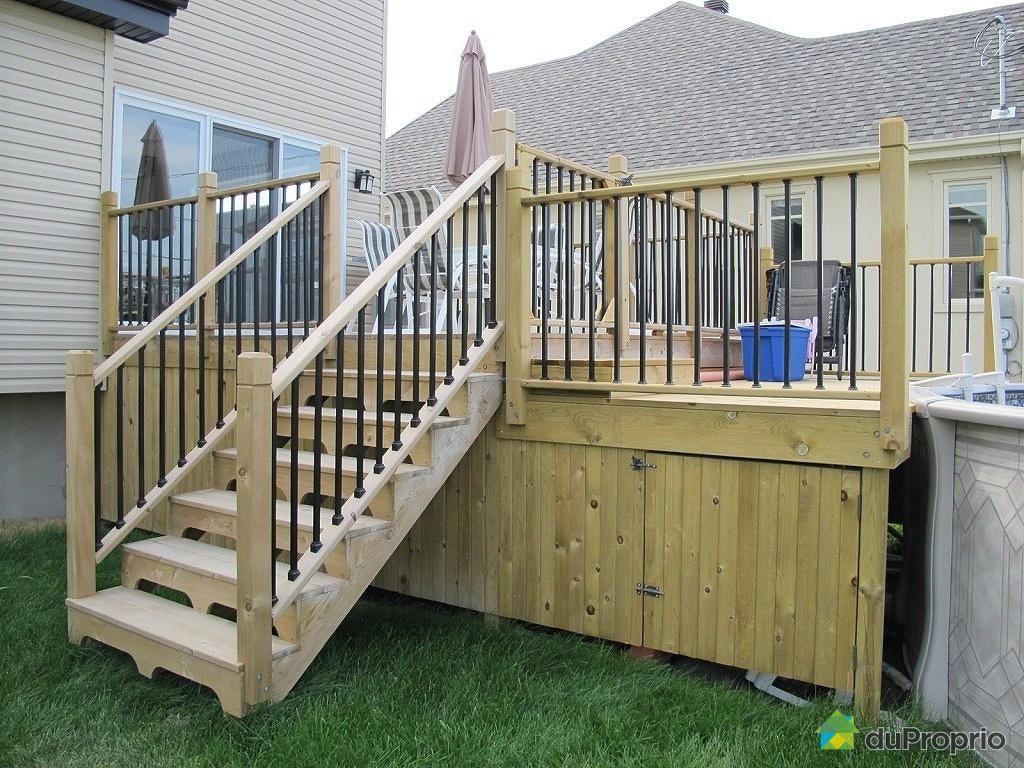 Id e de deck c t cours pinterest - Modele terrasse en bois ...