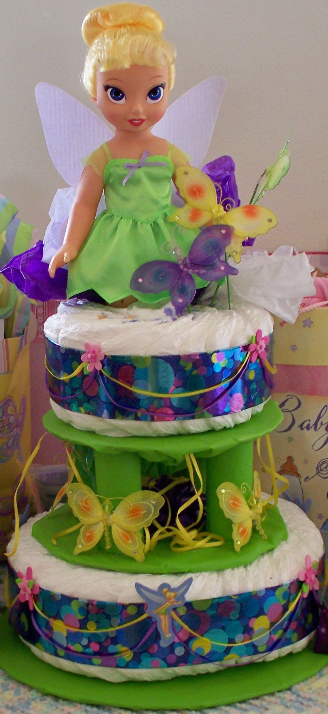 made this tinker bell diaper cake baby showers pinterest