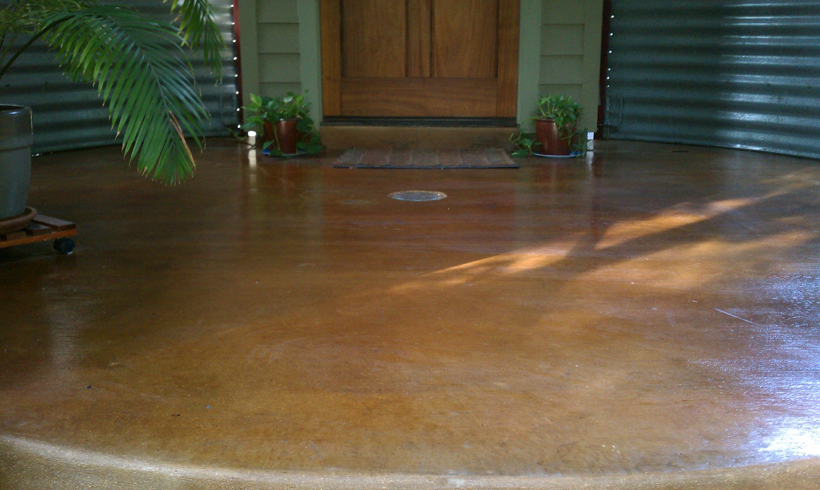 Stain and seal of front porch royalty concrete staining for Stained front porch