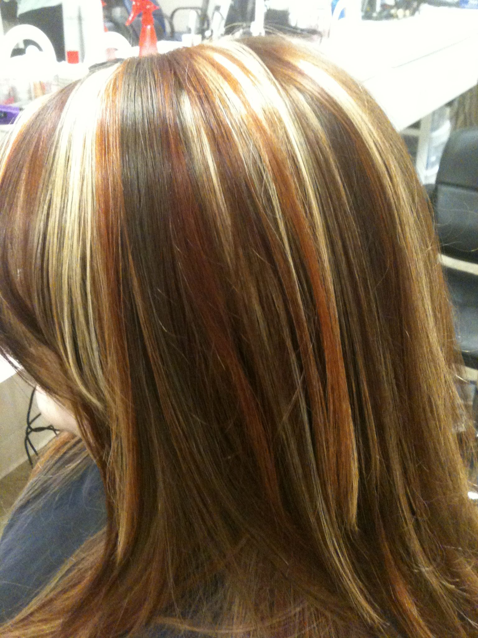 Tri colored highlights red copper and blonde stylist wendy brown