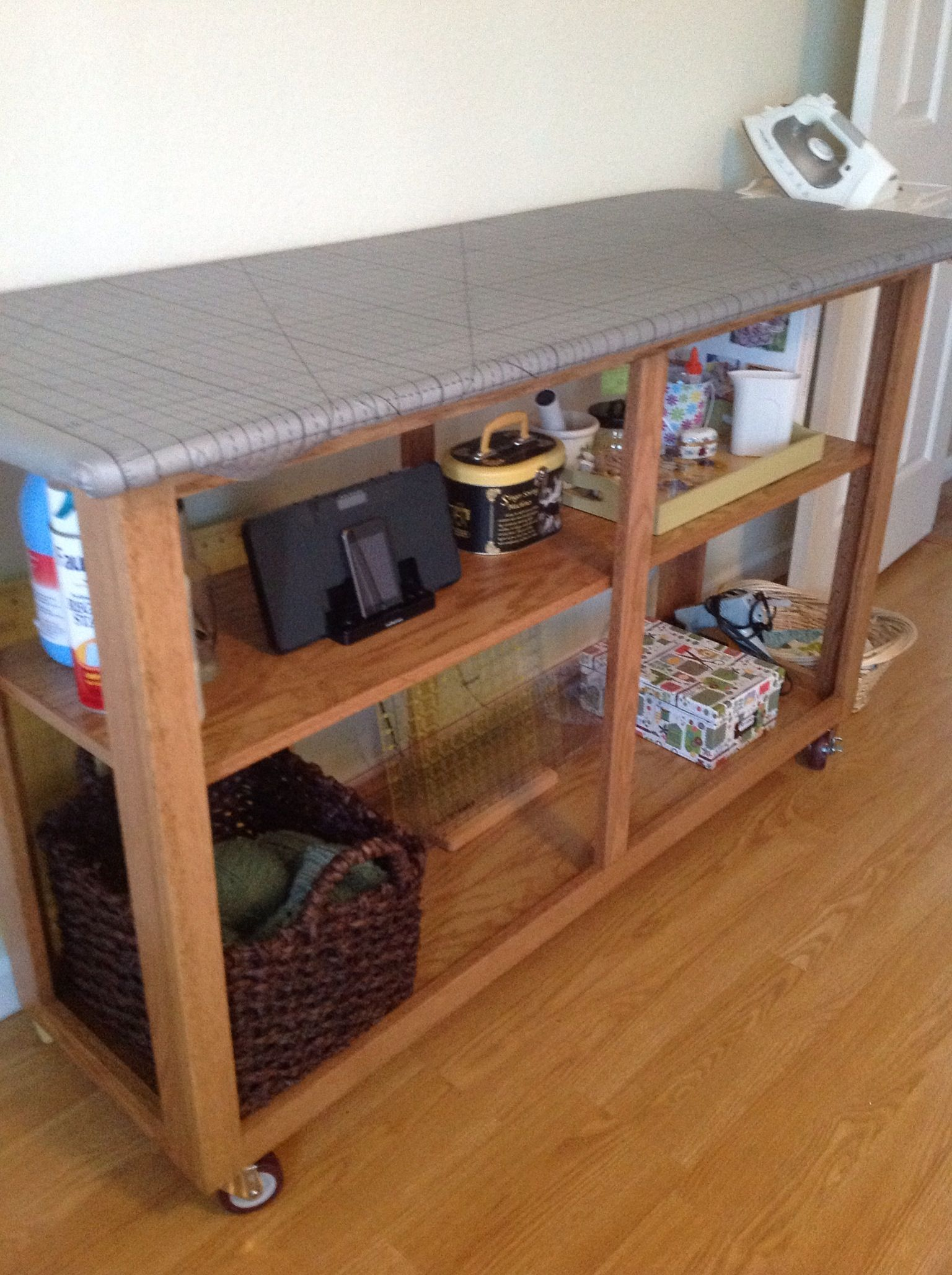 Pin by carol king on quilting room ironing board tables for Diy cutting board storage