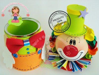 Bote con tapa de payaso botes pinterest for Botes de cocina decorados con goma eva