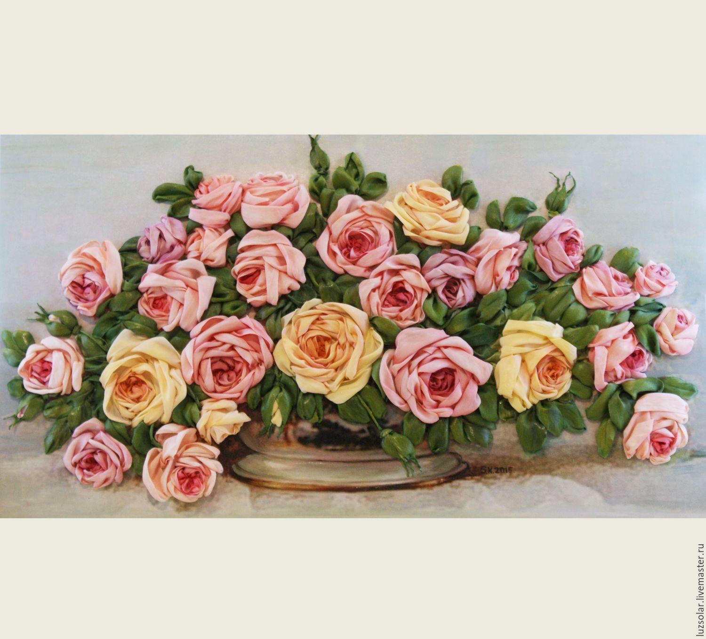 Принт для вышивки лентами розы 192