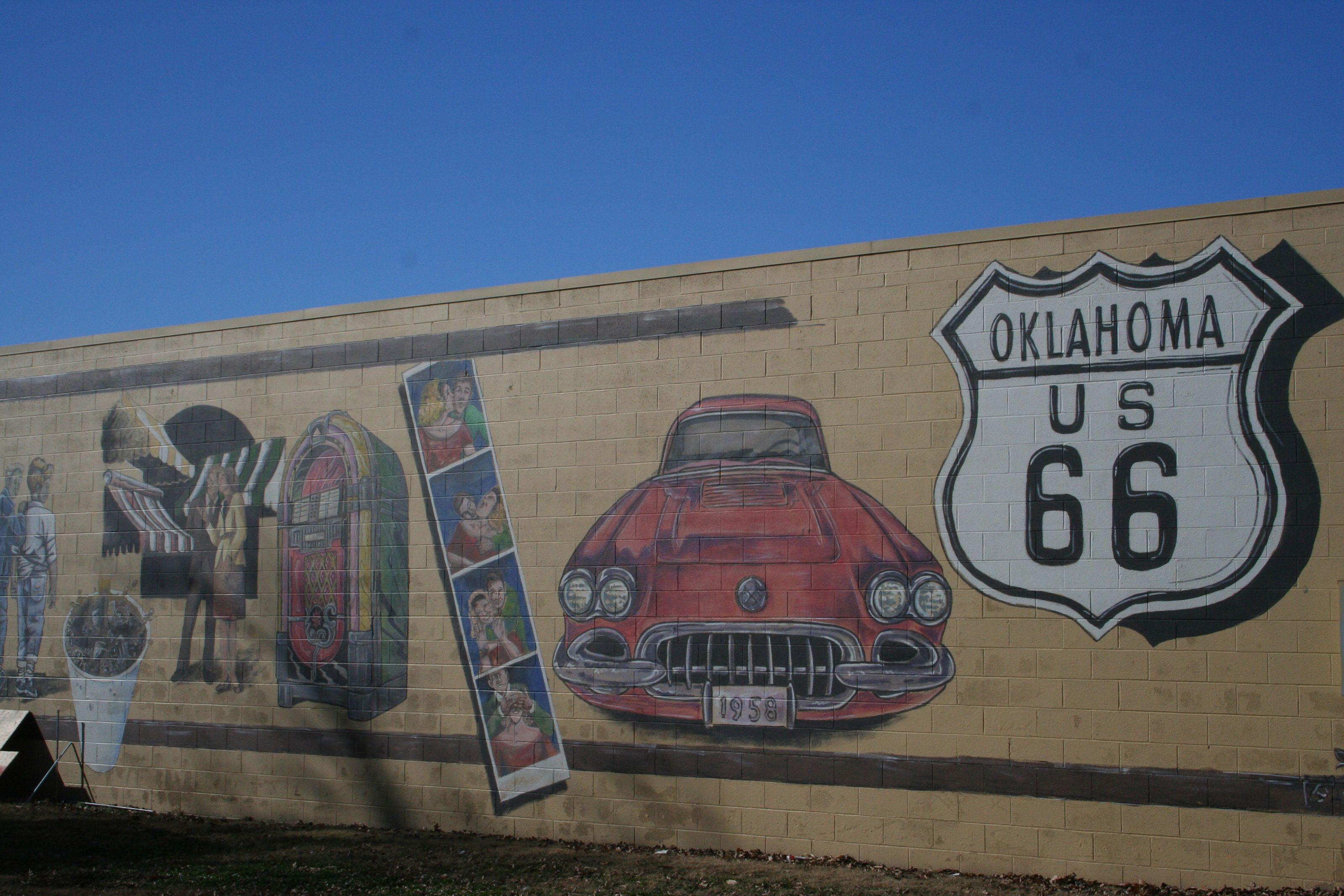 Route 66 edmond mural route 66 il ok pinterest for Route 66 mural