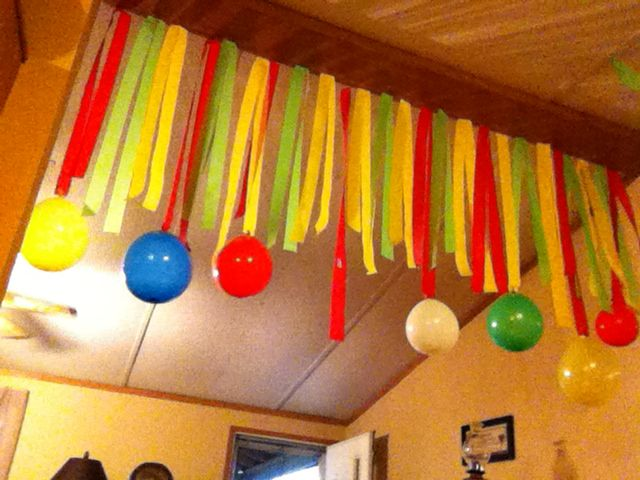 Streamers and balloon decoration party ideas pinterest for Balloon and streamer decoration ideas