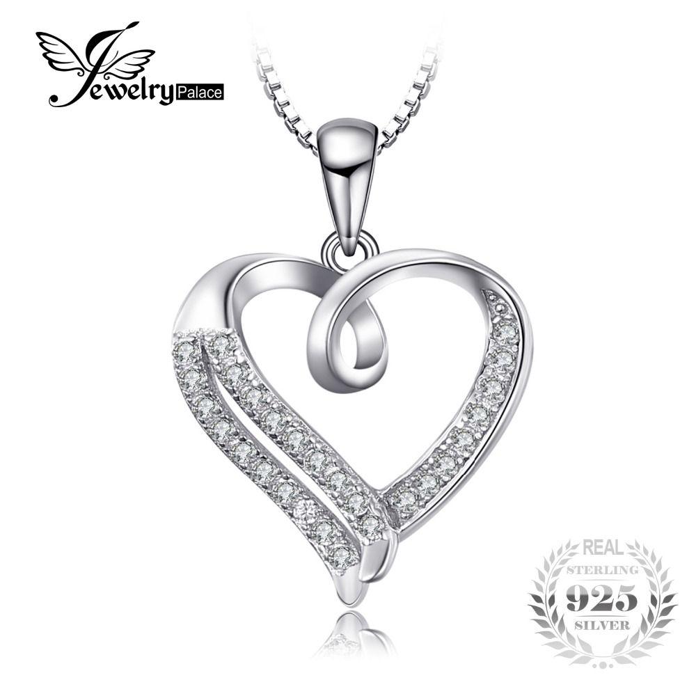 JewelryPalace Liebe Herz Runde Zirkonia Anhänger 925 Sterling ...