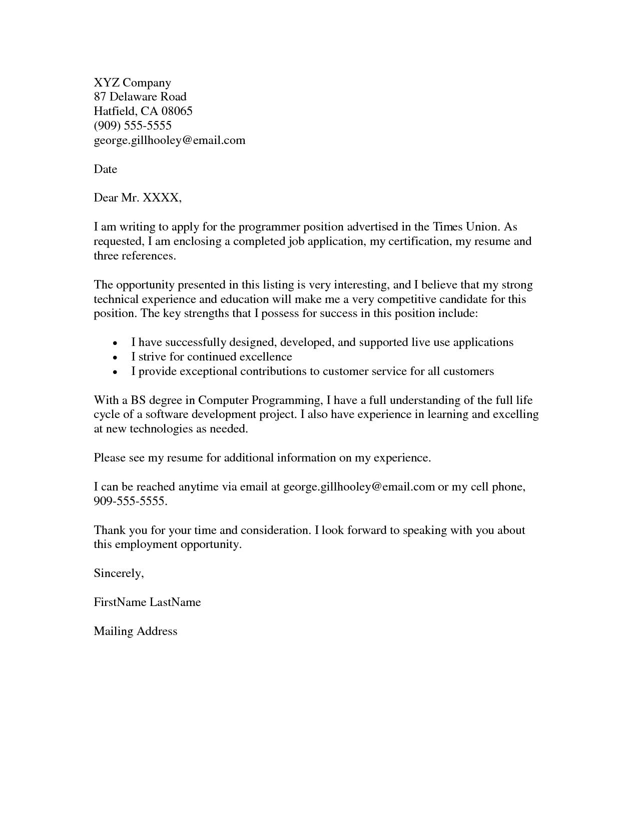 job application letter draft