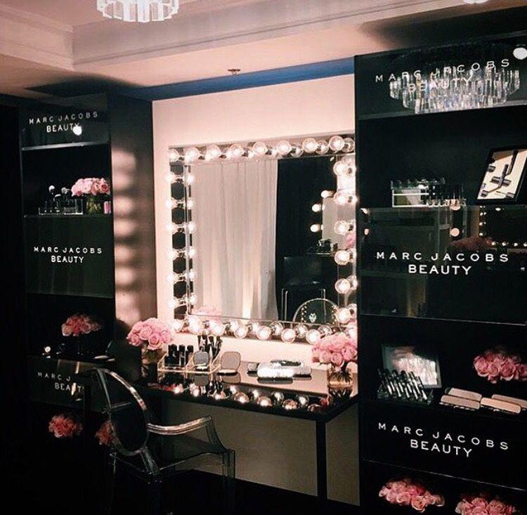 Black makeup vanity