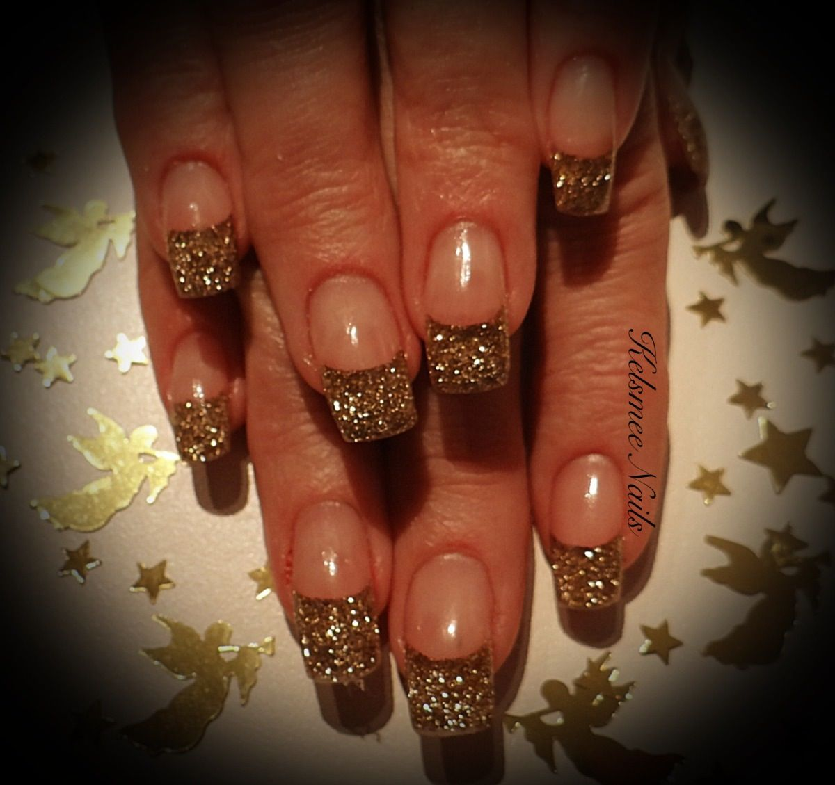 Young Nails acrylic gold glitter | Kelsmee Nails | Pinterest