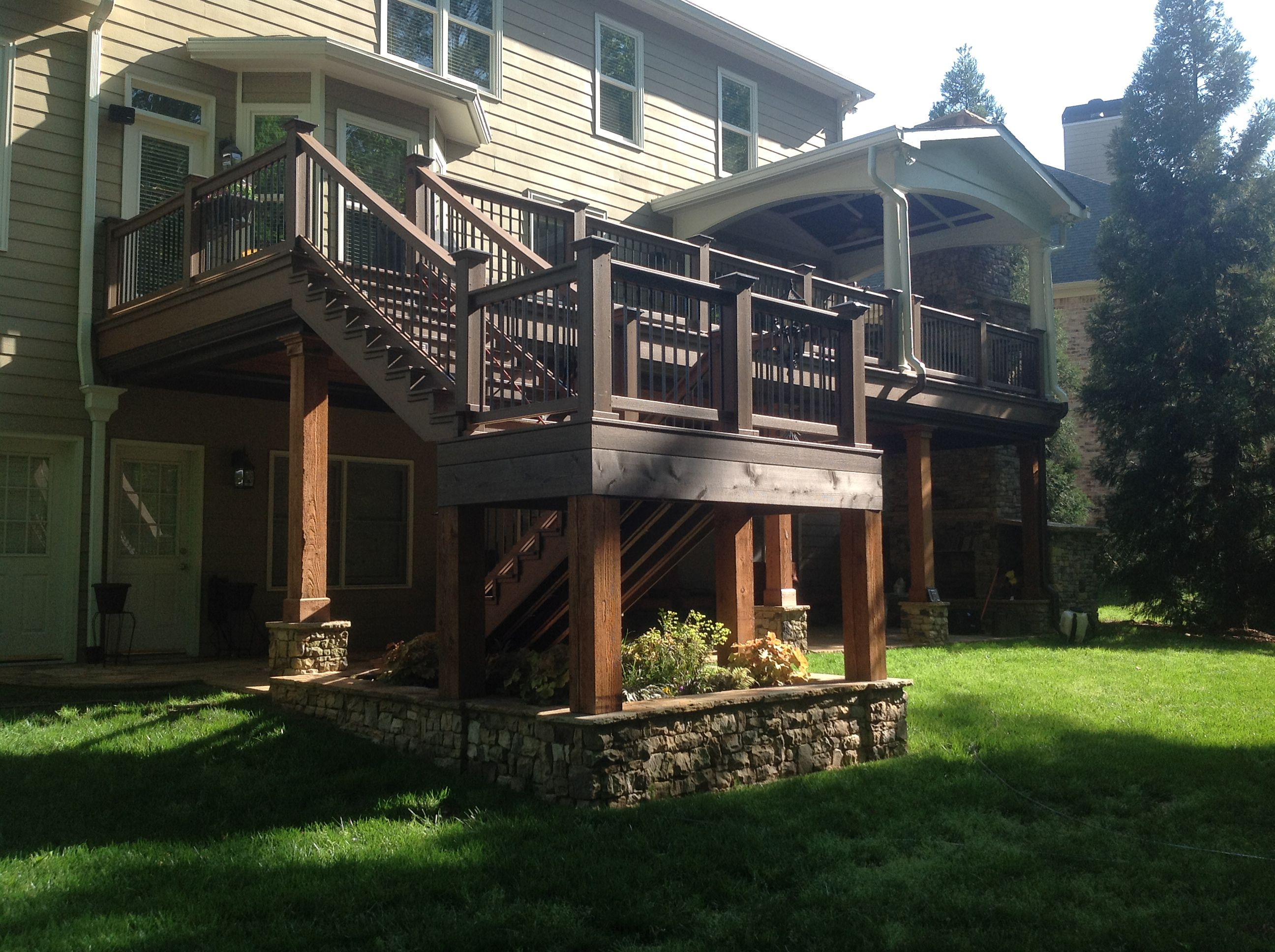 Deck With 2 Story Fire Place Decorate Pinterest
