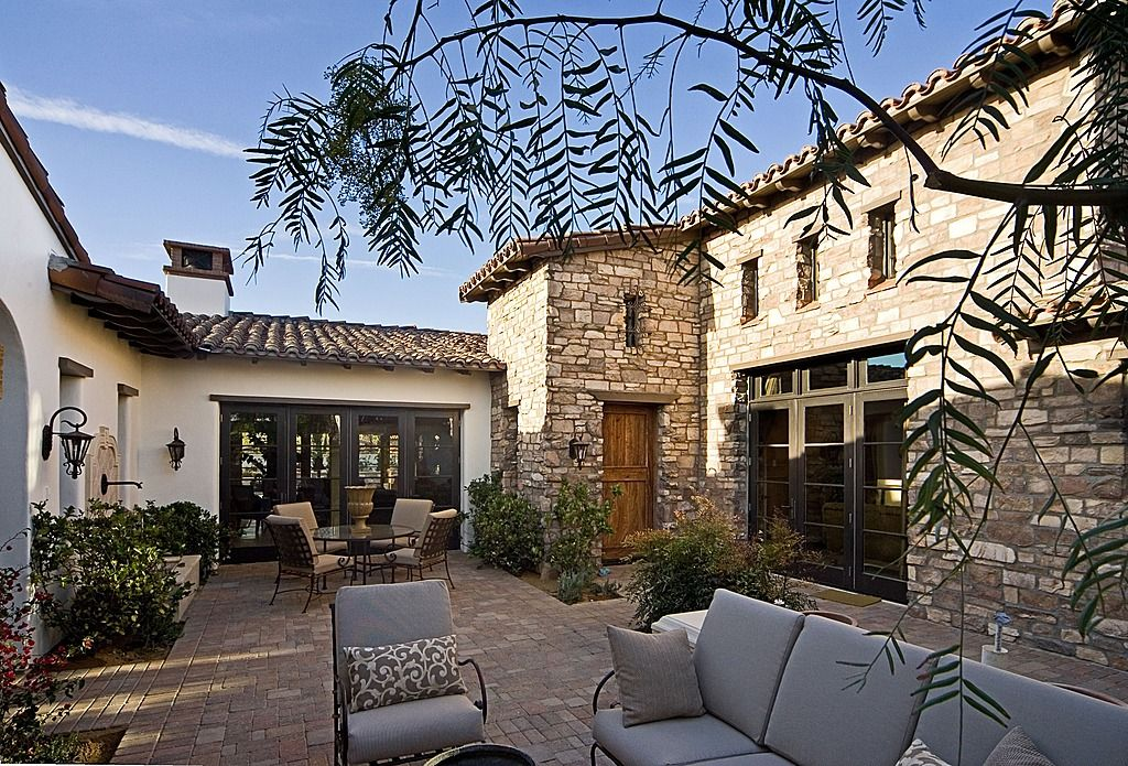 Mediterranean tuscan home exterior patio tuscan pinterest for Tuscan exterior design