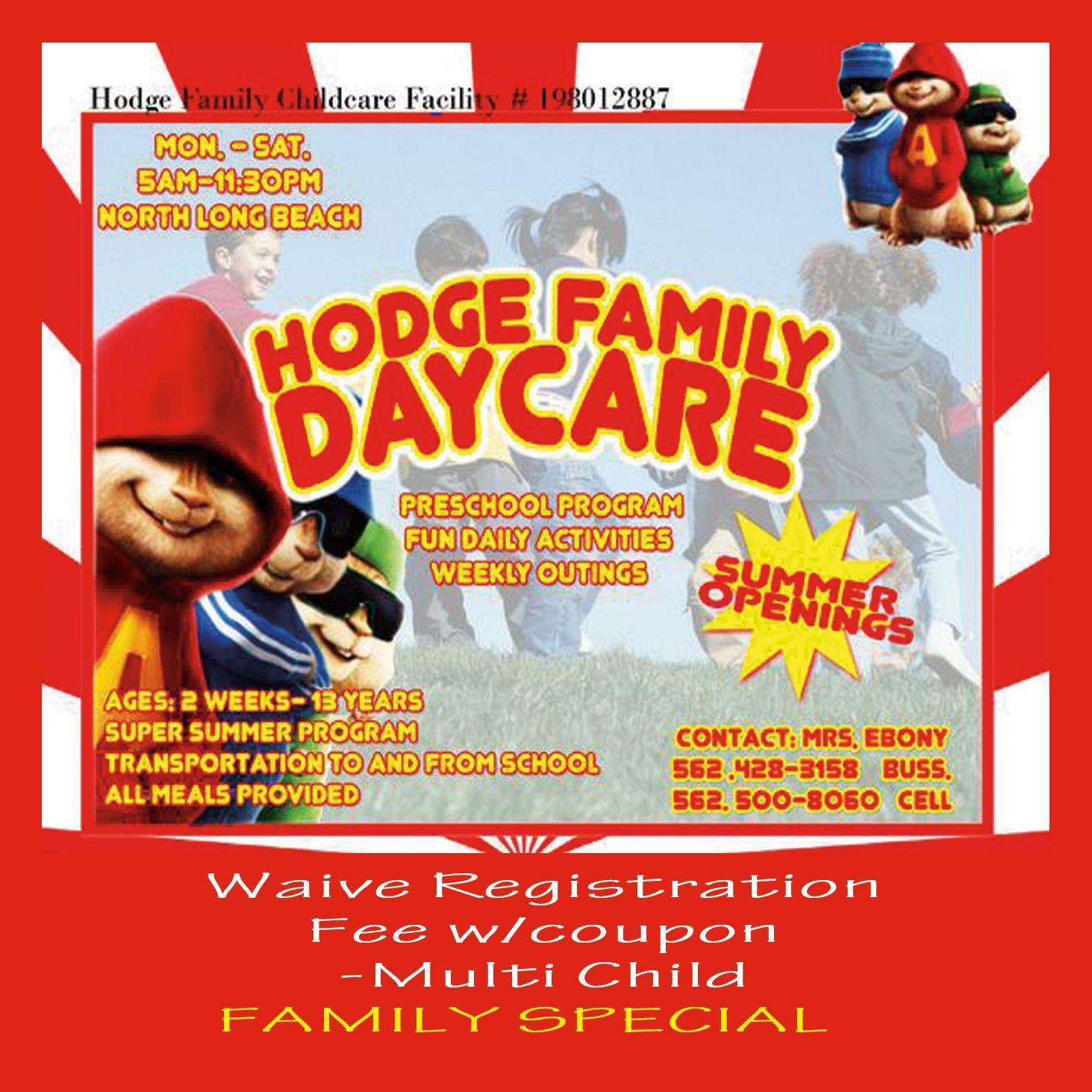 4x6 Flyer Hodge Family Daycare Pinterest