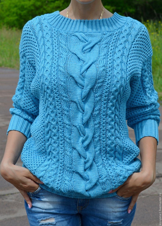 Вязание пуловер с косами и жгутами