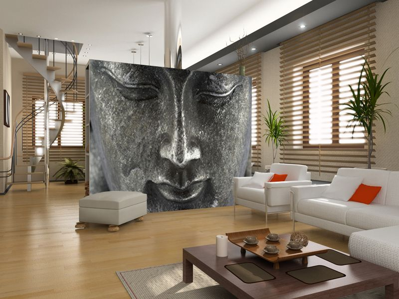 Buddha wall mural wall decorations pinterest for Buddha wall mural